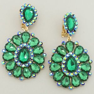 Green Crystal Pageant Prom Formal Clip-On Earrings